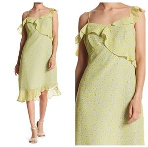 Nanette Lepore ruffled yellow floral chiffon dress